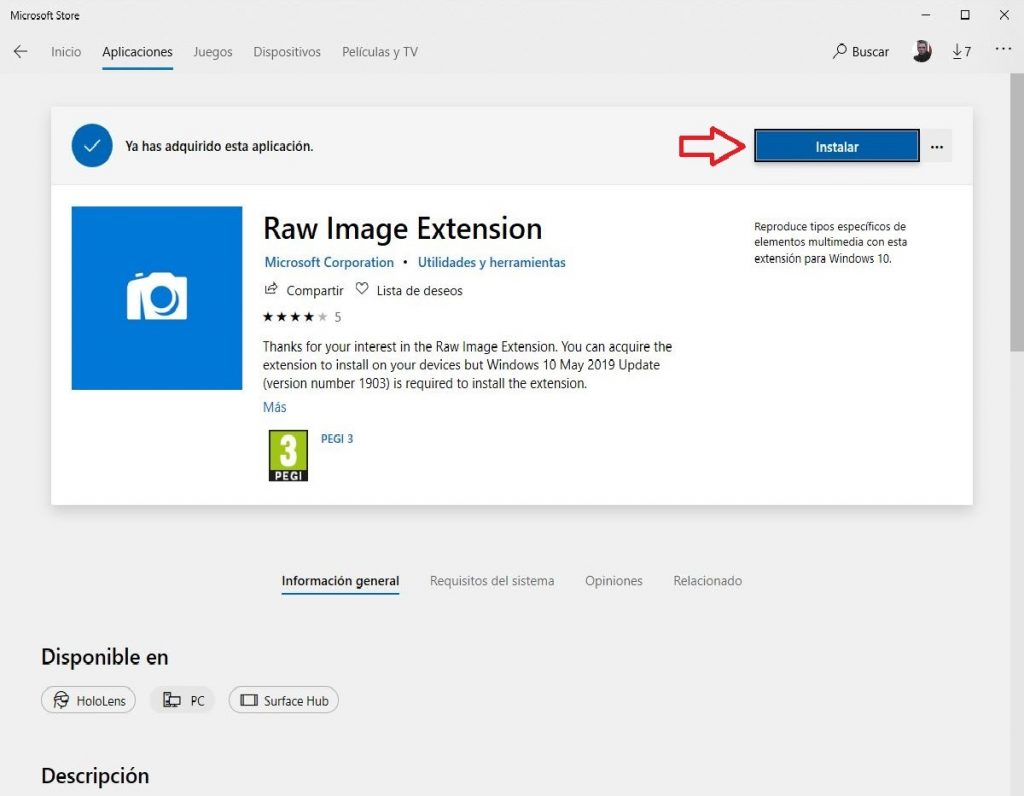 Captura Instalar Raw Image Extension