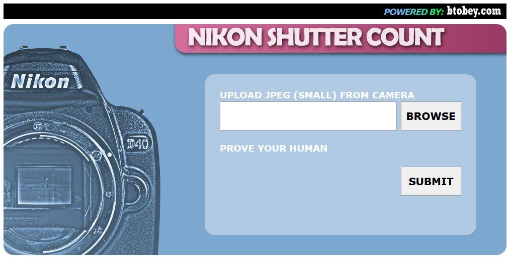 Captura pantalla Nikon Shutter Count